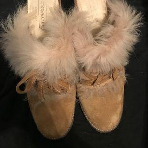 Unique FURRY COACH Slide in Heels